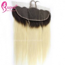 Diy Omber Hair Blonde 613 With Dark Roots Human Hair Straight Lace Frontal 13x4