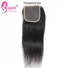 Transparent Lace Closure 4x4 Straight Virgin Human Hair Pre Plucked Knots
