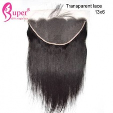 Straight Transparent Lace Frontal 13x6 100% Virgin Human Hair Natural Black Color