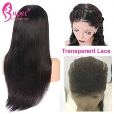 Transparent Full Lace Wigs Pre Plucked 130% Density Straight Virgin Human Hair Natural Black
