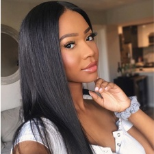 13x6 Lace Frontal Wigs Natural Straight Black Human Hair Pre Plucked 130%