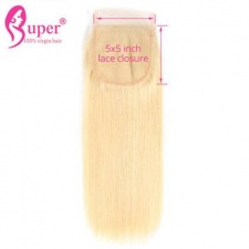5x5 Swiss Lace Closure 613 Blonde Straight Human Hair With Baby Hair Free Part