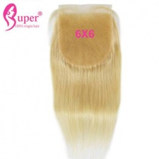 613 Blonde 6x6 Top Lace Sew In Closure Brazialin Straight Super Virgin Hair
