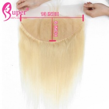 13x6 Blone Lace Frontal Closure Ear To Ear Russian 613 Straight Human Hair Pre Plucked