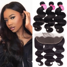 Cheap Brazilian Hair Bundles With Lace Frontals 13x4 Body Wave Black Human Hair