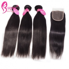 Affordable Brazilian Hair Bundles With Lace Closure 4x4 100 Remy Human Hair Straight On Sale