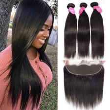 Cheap Human Hair Weave Bundles With Lace Frontal 13x4 For Sale Natural Straight Black Color