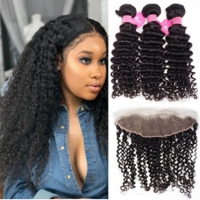 Cheap Curly Human Hair Weave Bundles With Lace Frontal 13x4 100 Remy Hair Black Color