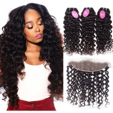 Human Hair Weave Bundles With Lace Frontal 13x4 Jerry Curly Cheap Remy Hair