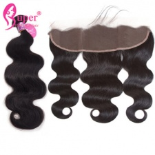 Bundle Deals With Lace Frontal Closure 13x4 Indian Virgin Remy Human Hair Body Wave Black Color