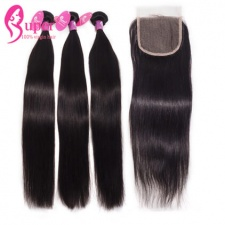 Raw Indian Hair Bundles With Top Lace Closure 4x4 100 Remy Human Hair Natural Straight