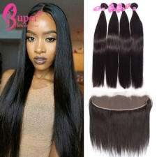 Best Indian Hair Weave 3 or 4 Bundls With Lace Frontal 13x4 Straight Virgin Human Hair Black Color