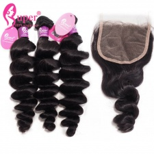 Indian Human Hair Loose Wave With Lace Closure 4x4 100 Real Virgin Hair With Baby Hair