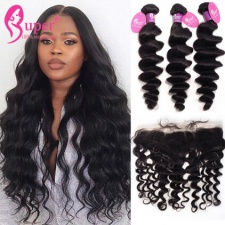 Indian Loose Wave Best Remy Hair With Lace Frontal 13x4 Ear To Ear 100 Human Hair Black Color
