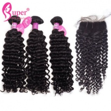 Indian Curly Hair 3 or 4 Bundles With Lace Closure 4x4 Free Part 100 Virgin Hair Extensions