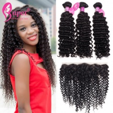 Curly Human Hair Weave Bundles With Lace Frontals 13x4 Ear to Ear Best Indian Hair