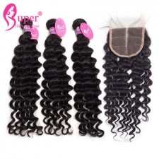 Deep Wave Hair Bundles With Lace Closure 4x4 Best Indian Virgin Human Hair Weave