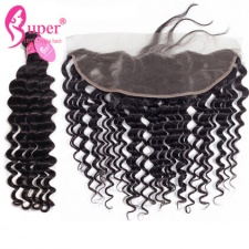 Deep Wave Raw Indian Hair With Ear To Ear Lace Frontal 13x4 Premium Remy Human Hair Extensions