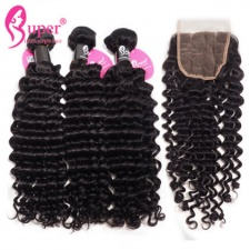 Burmese Deep Curly Hair With Top Lace Closure 4x4 Best Virgin Human Hair Weave