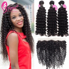 Deep Curly Hair Bundles With Lace Frontals 13x4 Pre Plucked Burmese Virgin Remy Hair Weave