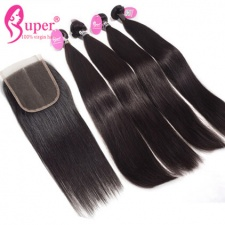 Burmese Bundle Deals Hair With Top Lace Closure 4x4 Bleached Knots 100 Remy Human Hair Straight