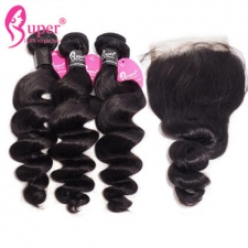 Loose Wave Burmese Hair With Lace Closure 4x4 Best Virgin Human Weave Hair Black Color