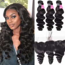 Loose Wave Cheap Human Hair Bundles With Lace Frontal 13x4 Burmese All Virgin Hair Reviews