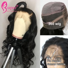 360 Lace Frontal Wig Brazilian Body Wave Virgin Human Hair Wigs With Baby Hair Bleached Knot
