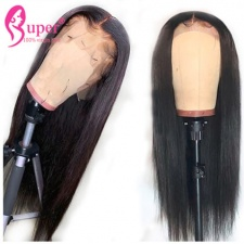 360 Lace Wigs Pre Plucked Brazilian Real Human Hair Straight Black Color 130% Density