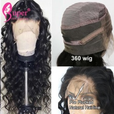 130% Density Swiss Lace 360 Wigs Pre Plucked Super Virgin Human Hair Loose Wave