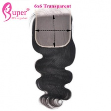 Cheap Transparent Lace Closure 6x6 Body Wave Hair Invisible Knot