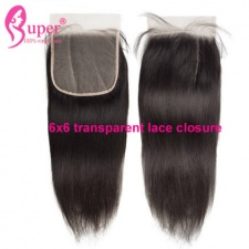 Affordable 6x6 Transparent Lace Closure Hair Extensions Straight