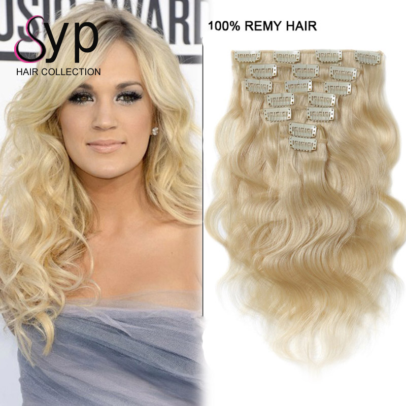 Brazilian Body Wave Blonde Clip In Human Hair Extensions