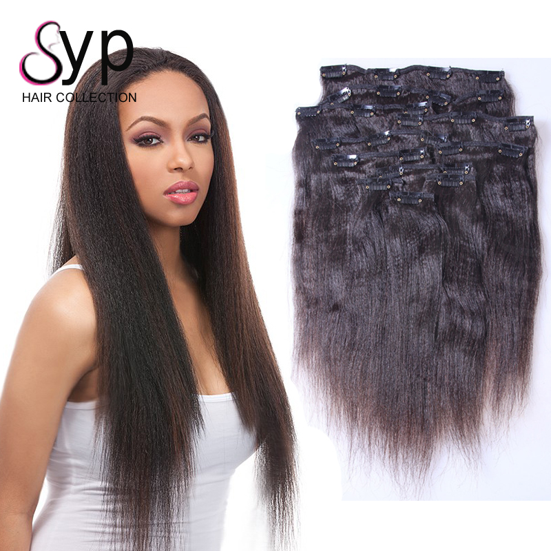 Virgin Human Real Hair Clip In Extensions Yaki Straight