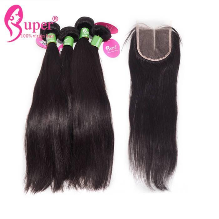 Cheap Peruvian Natural Straight Hair Bundles With Lace Closure