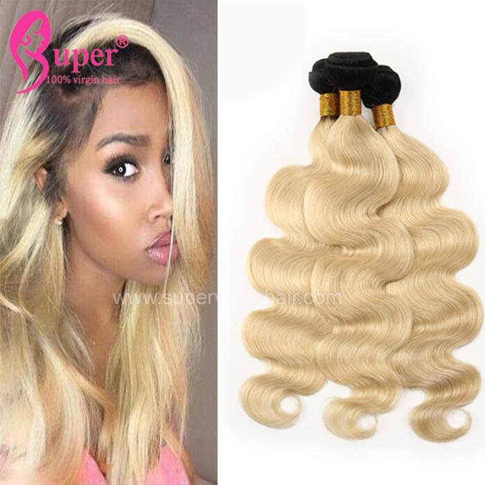 Blonde Dark Roots Virgin Russian Remy Hair Extensions Wholesale